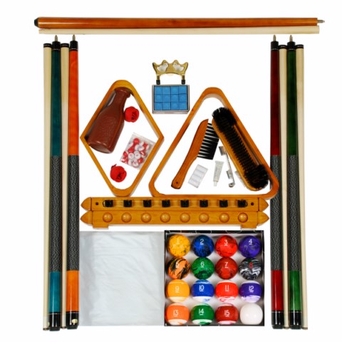 Billiard Pool Table Accessory Kit With Tech Marble Style Ball Set Oak Finish